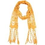 Hořčicový bavlněný háčkovaný šátek Fraas