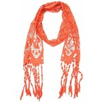 Oranžový bavlněný háčkovaný šátek Fraas