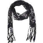 Černý bavlněný háčkovaný šátek Fraas