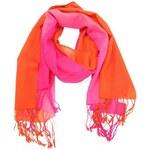 Oranžovo-růžový vlněný šátek Fraas