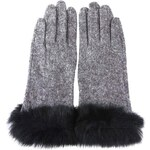 Šedé vlněné rukavice s černou kožešinou INVUU London