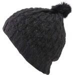 Černá dámská pletená čepice s bambulí INVUU London