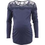 Tmavě modré těhotenské tričko s krajkou Mama.licious