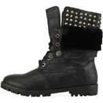 Černé zimní boty Kéddo s kožešinkou a cvočky