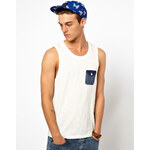 ASOS Vest With Oxford Pocket And Slubby Jersey