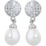 Meucci stříbrné visací náušnice s perlou a mikrozirkony SMP09E