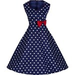"""LEDA tmavo modré """"dívčí"""" retro šaty s puntíky a červenou mašličkou"""