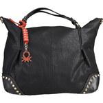 Koženková kabelka na rameno s přívěskem Benetton / Magritte - černá univerzální