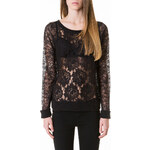 Tally Weijl Black Large Floral Lace Top