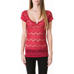 Tally Weijl Red Lace Striped Top