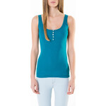 Tally Weijl Aqua Blue Basic Lace Button Vest Top