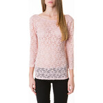 Tally Weijl Pink Floral Lace Longsleeve Top