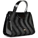 Černá chlupatá kabelka s vlnkami Grosso