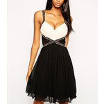 Černobéžové šaty Little Mistress