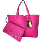 Kožená kabelka shopper Ralph Lauren pink chantil II