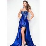 polodlouhé sexy plesové tmavě modré šaty Laura S-M Modrá