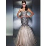 extra luxusní plesové šaty meruňkové na maturitní ples Donna XS-S a M-L M-L