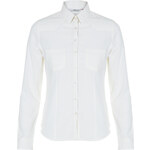 Tally Weijl Cream Sheer Roll-Up Sleeve Shirt