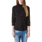 Tally Weijl Black Sheer Roll-Up Sleeve Shirt