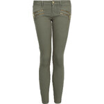 Tally Weijl Khaki Skinny Pants with Double Zip Detail