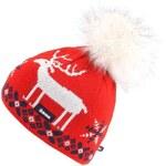 Červená dámská čepice s jelenem Kama
