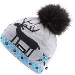Šedá dámská čepice s jelenem Kama
