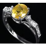 Stříbrný prsten s citrínem a bílými safíry
