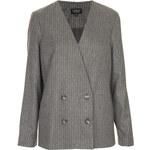 Topshop Collarless Pinstripe Jacket