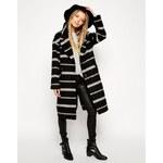 ASOS Coat In Brushed Stripe - Black