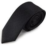 Šlajfka Černá úzká mikrovláknová kravata s jemným vzorkem