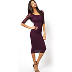 Levné společenské krajkové šaty fialové
