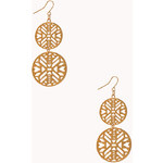 Forever 21 Cutout Disc Drop Earrings