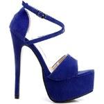 KOI Modré semišové sandály s jehlovým podpatkem - V30BLSPU