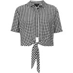 Topshop Gingham Tie Front Shirt