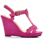 SUPER MODE Krásné růžové sandálky na klínku - 99978F