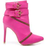 SERGIO TODZI Elegantní fuchsiové kotníčkové boty s přezkami - MY115F