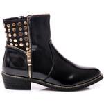 VICES Božské černé kotníčkové boty se cvočky - A836B