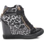 VICES Módní leopardí tenisky na klínku - Y400-1B