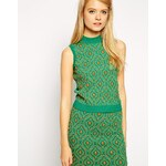 ASOS Co-ord Embellished Top in Knit with Turtle Neck - Green