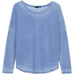 Tally Weijl Blue Oversize Burn Out Top with Drop Sleeves