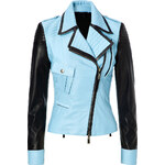 Just Cavalli Leather Two-Tone Biker Jacket
