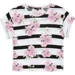 Tally Weijl White Striped Boxy Top with Florals