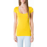Tally Weijl Yellow Round Neck Basic Top