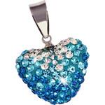 Giovanni Bertolucci Přívěsek srdce s modrými a čirými kamínky