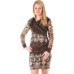 TopMode Dámské stylové úpletové šaty se vzorem a kožešinou hnědá