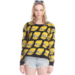 ROMWE Yellow Long Sleeve Simpson Cartoon Pattern Loose Jumper