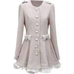 ROMWE Lace Bowknot Long Sleeves Slim Coat