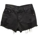 Romwe Shredded Black Denim Shorts