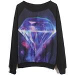 ROMWE Galaxy Diamond Print Black Sweatshirt