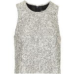 Topshop Monochrome Frayed Boucle Shell Top
